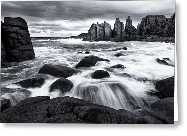 Tim Nichols Greeting Cards - Pinnacle Morning Monochrome Greeting Card by Tim Nichols
