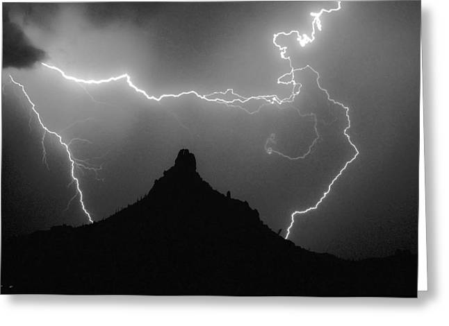 Scottsdale Lightning Photographs Greeting Cards - Pinnacle Peak Surrounded Greeting Card by James BO  Insogna