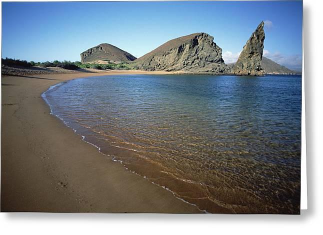 Beach Photos Greeting Cards - Pinnacle Rock And Volcanic Beach Greeting Card by Tui De Roy