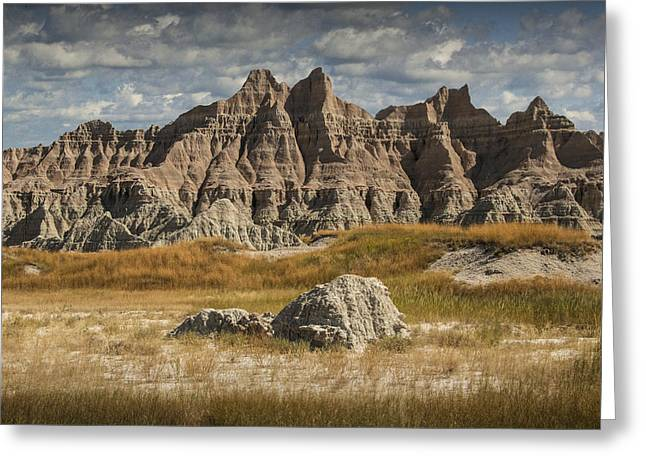 Sandstone Bluffs Greeting Cards - Pinnacles and Spires in the Badlands Greeting Card by Randall Nyhof
