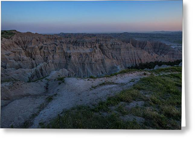 Badlands National Park Greeting Cards - Pinnacles Overlook at Dusk Greeting Card by Aaron J Groen