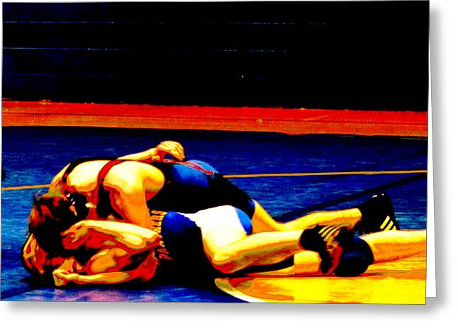 Grapple Greeting Cards - Wrestler Pinned by Earls Photography Greeting Card by Earl  Eells a