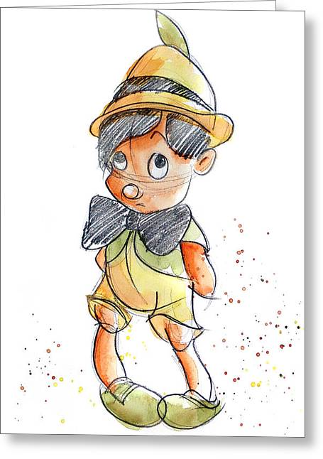 Pinocchio Greeting Card by Andrew Fling