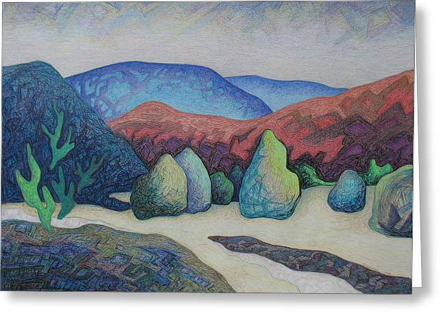 Taos Pastels Greeting Cards - Pinons in the arroyo Greeting Card by Dale Beckman