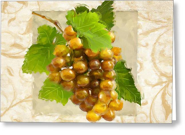 Purple Grapes Paintings Greeting Cards - Pinot Gris II Greeting Card by Lourry Legarde