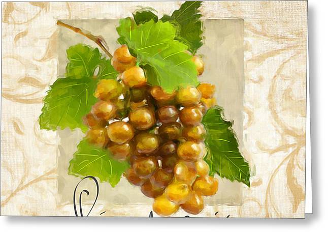 Purple Grapes Paintings Greeting Cards - Pinot Gris Greeting Card by Lourry Legarde