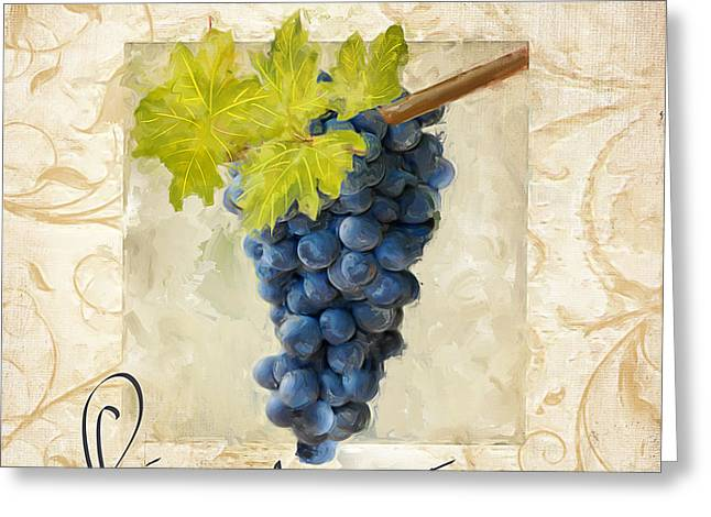 Purple Grapes Paintings Greeting Cards - Pinot Noir Greeting Card by Lourry Legarde
