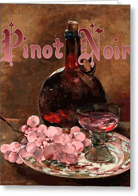 Pinot Digital Art Greeting Cards - Pinot Noir Vintage Advertisement Greeting Card by