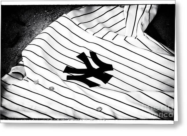 Ny Yankees Baseball Art Greeting Cards - Pinstripe Pride Greeting Card by John Rizzuto