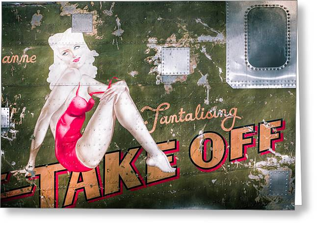 Aircraft Artwork Greeting Cards - Pinup Girl - Aircraft Nose Art - Take Off Anne Greeting Card by Gary Heller