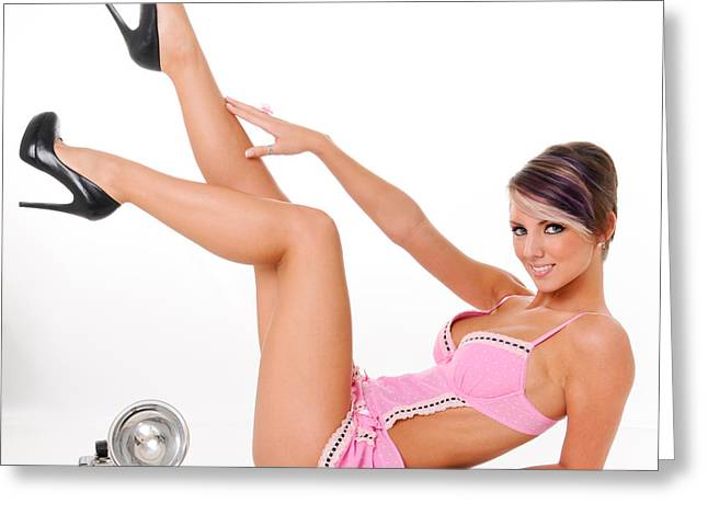 Sexy Shoes Greeting Cards - Pinup Girl in Pink Greeting Card by Jt PhotoDesign