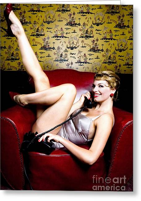 Swimsuit Photography Greeting Cards - Pinup Girl on the Phone Greeting Card by Diane Diederich