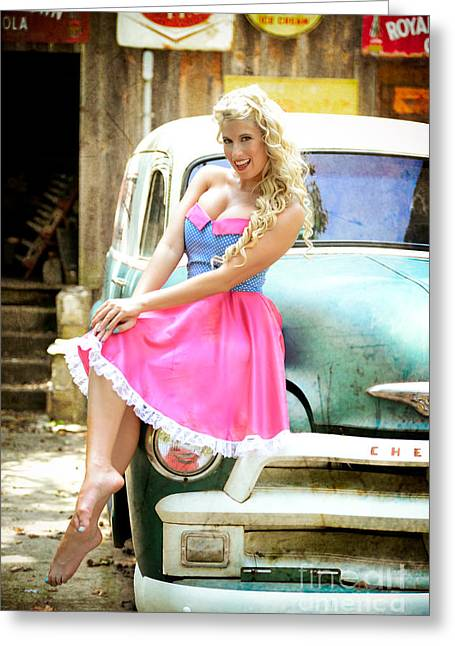 Pinup Girl With Classic Truck Greeting Card by Jt PhotoDesign