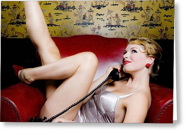 Pinup girl with phone Greeting Card by Diane Diederich