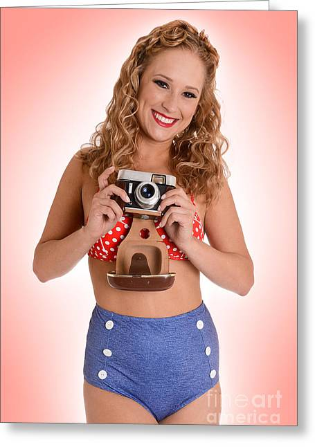 Swimsuit Photo Greeting Cards - Pinup Photographer Greeting Card by Jt PhotoDesign