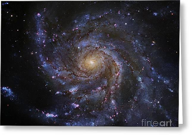 Subaru Greeting Cards - Pinwheel Galaxy (m101), Hubble Image Greeting Card by Robert Gendler