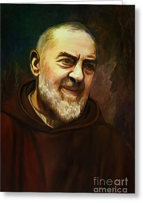 Pio Of Pietrelcina Greeting Card by Andrzej Szczerski
