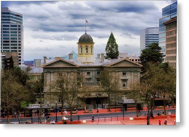 Trial Greeting Cards - Pioneer Courthouse in Portland Oregon Greeting Card by Mountain Dreams