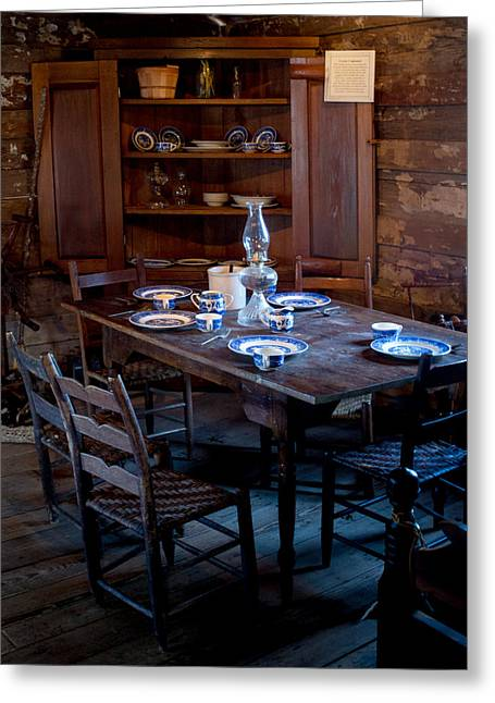 Corner Kitchen Greeting Cards - Pioneer Kitchen Table and Cubbard Greeting Card by Douglas Barnett