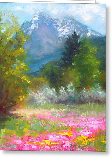 Colorist Greeting Cards - Pioneer Peaking - flowers and mountain in Alaska Greeting Card by Talya Johnson