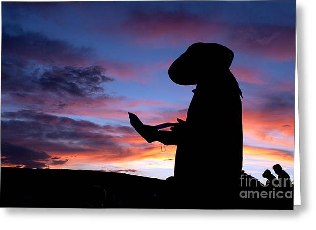 Silhouette Greeting Cards - Pioneer Silhouette Reading Letter Greeting Card by Cindy Singleton