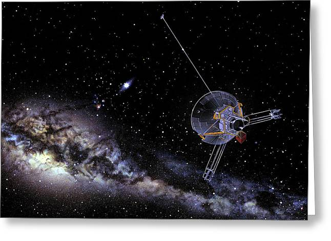 Pioneer Spacecraft In Interstellar Space Greeting Card by Nasa