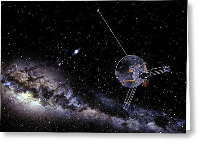 Pioneer Spacecraft In Interstellar Space Greeting Card by Nasa