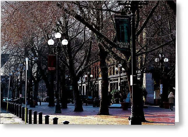Pioneer Square Seattle Greeting Cards - Pioneer Square Seattle Washington Greeting Card by David Patterson