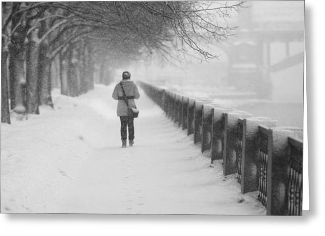Snowstorm Greeting Cards - Pioneering The Alley - Featured 3 Greeting Card by Alexander Senin