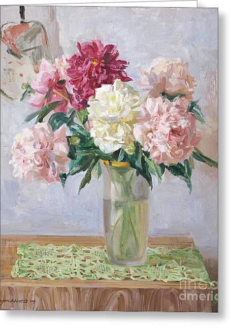 """""""flower Still Life"""" Greeting Cards - Piones on white Greeting Card by Victoria Kharchenko"""