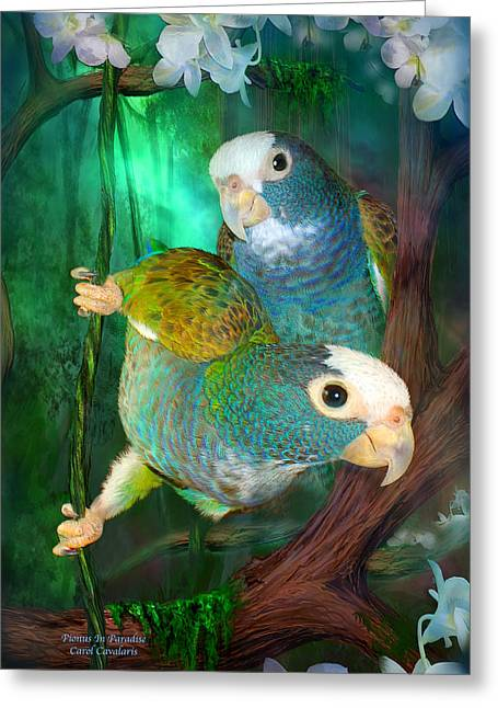 Tropical Bird Art Greeting Cards - Pionus In Paradise Greeting Card by Carol Cavalaris