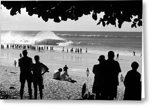 Surfer Art Greeting Cards - Pipe Arena Greeting Card by Sean Davey