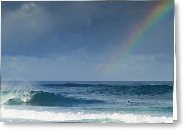 Big Surf Greeting Cards - Pipe at the end of the rainbow Greeting Card by Sean Davey