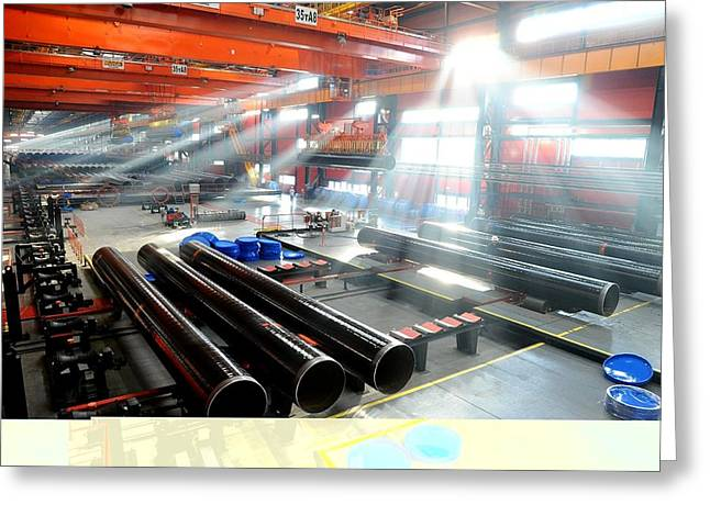 Diameter Greeting Cards - Pipe factory Greeting Card by Science Photo Library