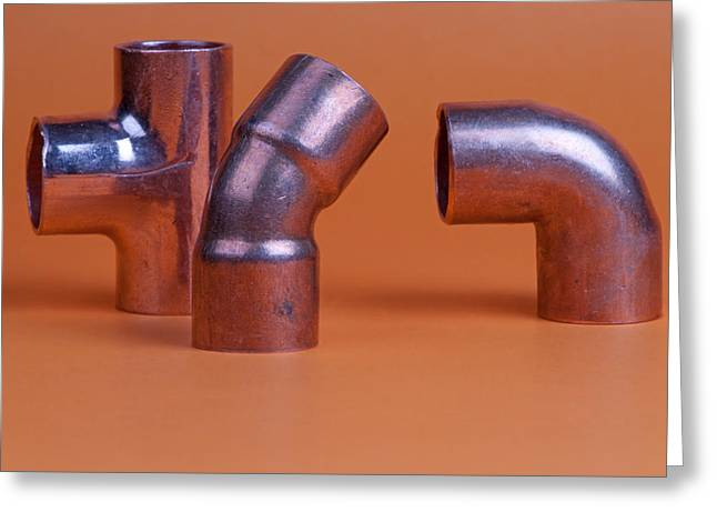 Install Greeting Cards - Pipe fittings Greeting Card by Marek Poplawski