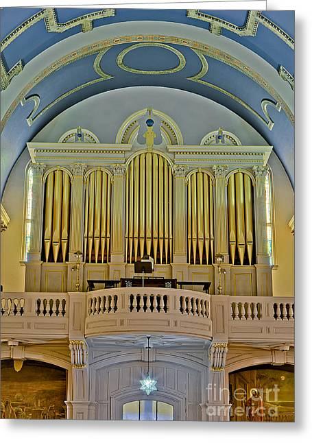 Pipe Organ Greeting Cards - Pipe Organ At Saint Michaels Greeting Card by Susan Candelario