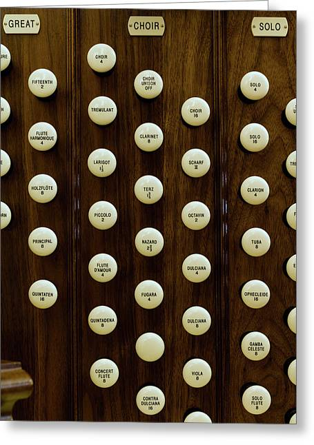 Pipe Organ Console, The Temple Greeting Card by Panoramic Images