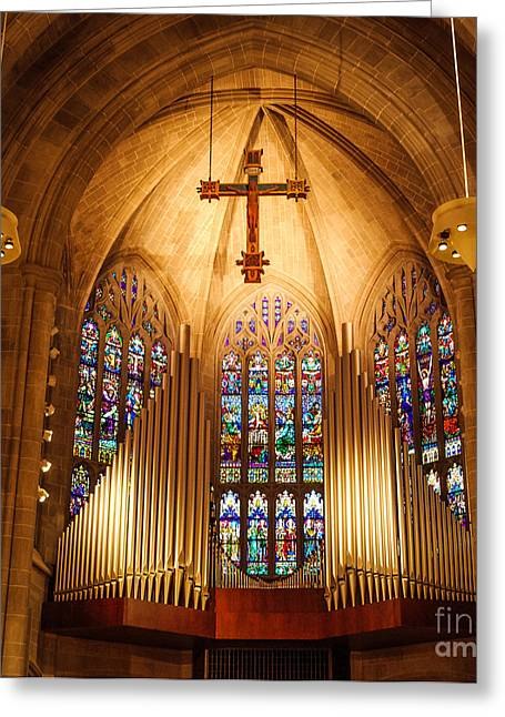 Stained Glass 3 Greeting Cards - Pipe Organ Greeting Card by Grace Grogan