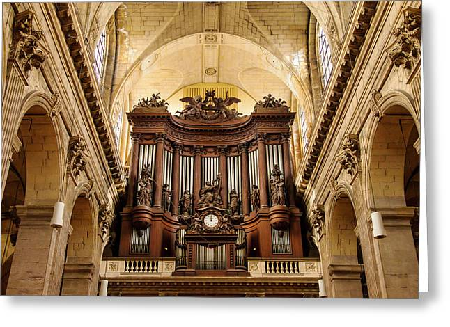 Pipe Organ Pipes In Eglise Saint Greeting Card by Brian Jannsen