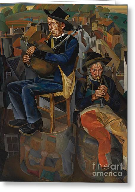 Strength Paintings Greeting Cards - Pipe Players Greeting Card by Celestial Images