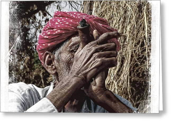 Taking The Field Greeting Cards - Pipe Smoking Deep Puff Chillum India Rajasthan 4b Greeting Card by Sue Jacobi