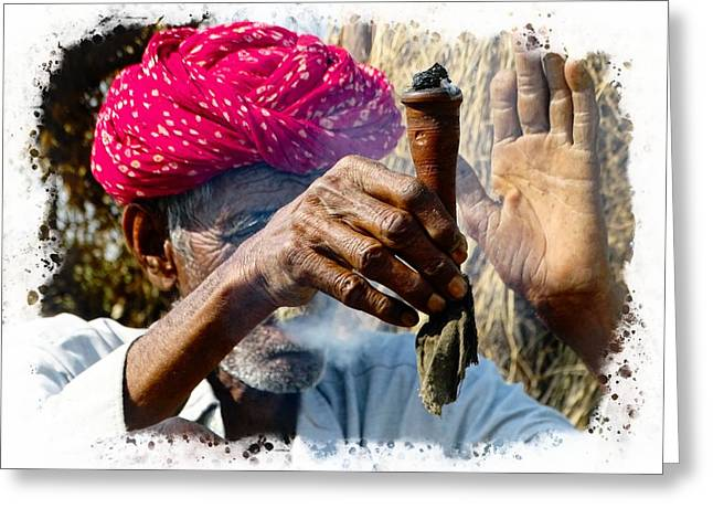 Pipe Smoking Deep Puff Chillum India Rajasthan 5 Greeting Card by Sue Jacobi