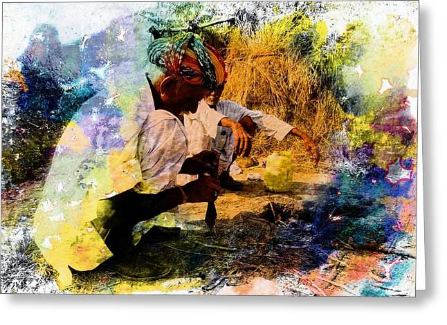 Pipe Smoking Ritual Chillum India Rajasthan 1 Greeting Card by Sue Jacobi