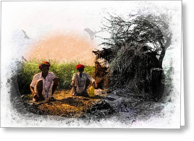 Pipe Smoking Ritual Chillum India Rajasthan 2 Greeting Card by Sue Jacobi