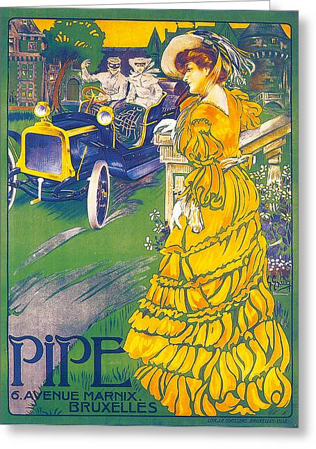 Woman In A Dress Greeting Cards - Pipe Vintage Car Poster Greeting Card by JE Goosnes
