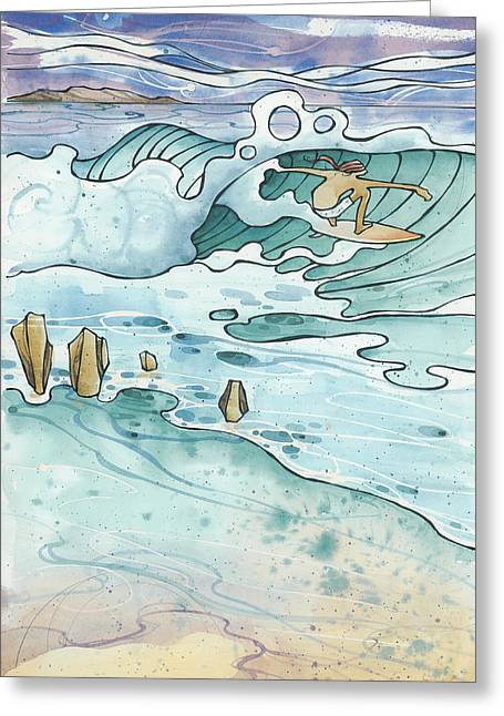 Surfing Art Greeting Cards - Pipeline Greeting Card by Harry Holiday