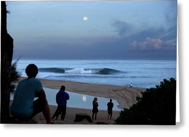 Super Moon Greeting Cards - Pipeline Moonset Greeting Card by Sean Davey