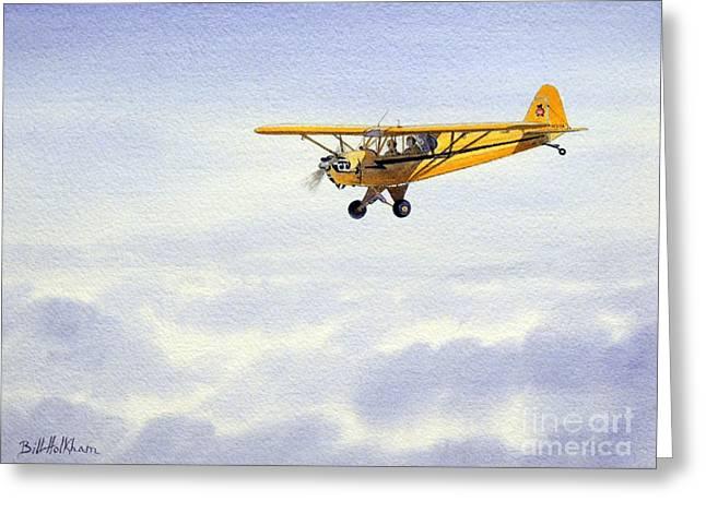 Aircraft Artist Greeting Cards - Piper J-3 Cub Greeting Card by Bill Holkham