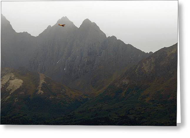 Piper Cub Greeting Cards - Piper In The Peaks Greeting Card by Ron Day