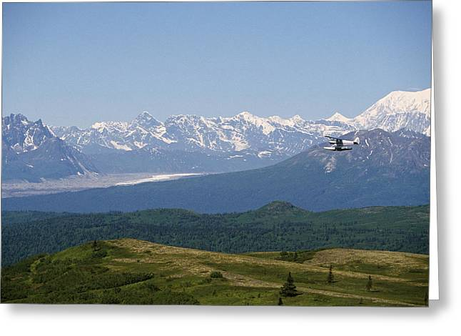 Piper Cub Greeting Cards - Piper Supercub On Floats Over Ak Range Greeting Card by Jeff Schultz